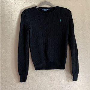 Ralph Lauren Black Cable-Knit Sweater
